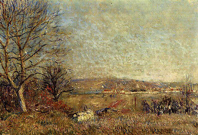 Art Oil Alfred Sisley - The Plain of Veneux, View of Sablons nice landscape