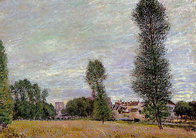 Oil painting Alfred Sisley - The Village of Moret, Seen from the Fields canvas
