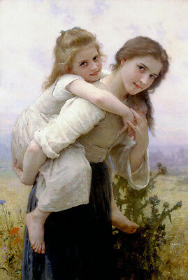 """Oil Bouguereau - Fardeau Agreable Not too Much to Carry Young girls sister 36"""""""