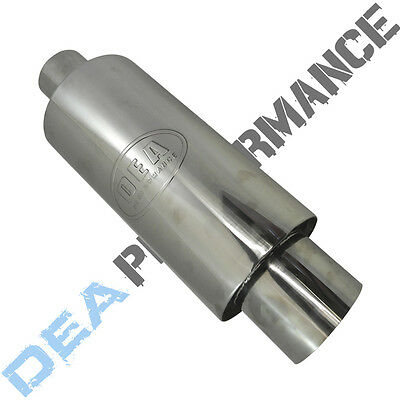 """Stainless Steel Sports Cannon Muffler - Universal Fitment - Wlm96 - 2.25"""" Inlet"""