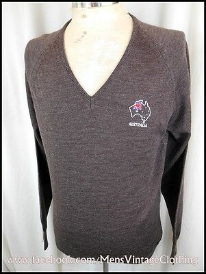 Vintage 70s Brown Pure Wool V-neck Australia Souvenir Jumper Sweater 90cm SM NWT
