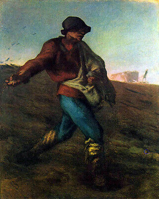 Oil painting Millet The Sower Man in Busy planting season canvas 36""