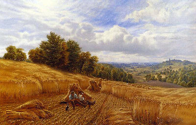 Huge art Oil painting Farmers Resting From The Harvest in landscape no framed