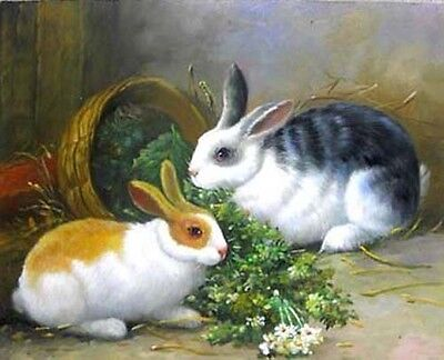 Oil painting animals lovely Rabbits hare bunny eating grass on canvas