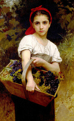 Art Oil painting Bouguereau nice young girl portrait The Grape Picker in Orchard