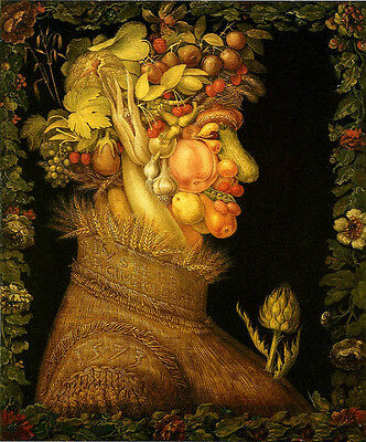Oil painting Giuseppe Arcimboldo - The Summer Abstract Fruits portrait & flowers