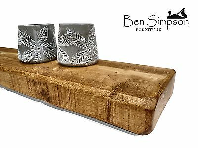 Rustic Floating Shelves Chunky Solid Wood BEN SIMPSON FURNITURE