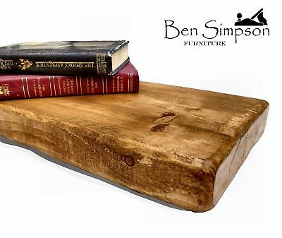 Rustic Floating Shelf - Shelves Chunky Industrial Wood Handmade Solid Wooden F22