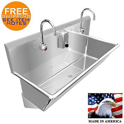 "Wash Up Hand Sink 2 Station Multiuser 48"" Elec Faucet 12"" Bowl Deep Made In Usa"