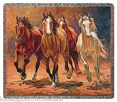 """Throws - """"Wild Stallions"""" Tapestry Throw - Horse Throw Blanket - Equestrian"""