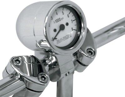 Baron Custom Accessories BA-7570-00 Bullet Tachometer 1in. White Face Chrome