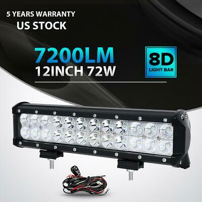 "12""INCH 72W LED Work Light Bar Spot Flood Combo Offroad Pickup Van ATV 12V"
