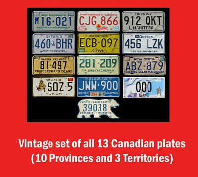 Full Set 13 Vintage Canadian License Plates Lot Tag Nwt & Nunavut Bear Canada