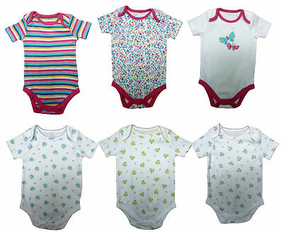 JOHN LEWIS Baby Girls Bodysuits Pack of 3 Bargain Roses or Butterfly Flower Mix