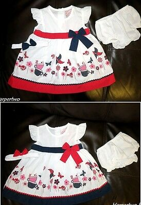 Baby Girl Summer Party Prom Wedding dress set knickers headband outfit 3-18 M