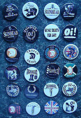 SKINHEAD COLLECTION 24 x 25mm BUTTON BADGES SET 2 REGGAE SKA SCOOTER TROJAN SKIN