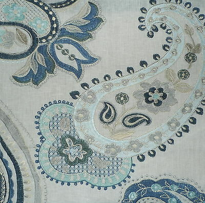 COWTAN & TOUT Majorca Paisley Blue Ivory Embroidery Cotton New Remnant