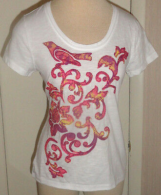 Ladies Sonoma White Pink Embroidered Short Sleeve Tee Top T-Shirt PXS, PS, PM