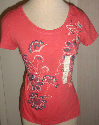 Ladies Sonoma Cranberry Embroidered Floral Short Sleeve Crew Top Sizes PXS, PS