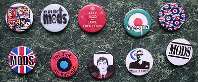 MOD 25 x 1 INCH BUTTON BADGES SET 3 RETRO PARKER SCOOTER  JAM 60s