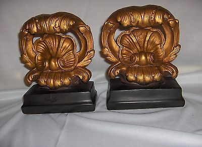 Vintage Pair Art Deco Clam Shell Bookends Cast Metal Florentine Gold Rococo