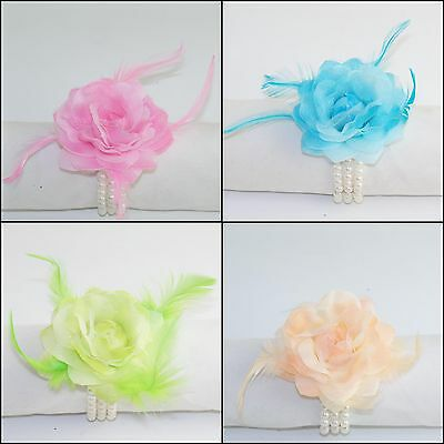 Wedding / Prom Wrist Flower & Feather Corsage on 3 row Peral Bracelet 4 Colours