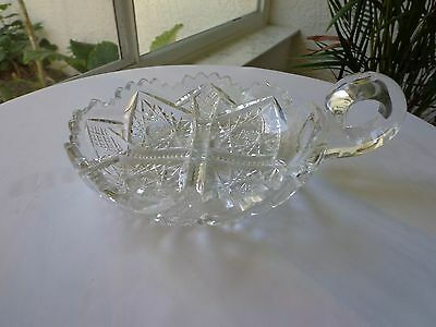 """American Brilliant Antique Cut Glass 6"""" Nappy / Candy Dish One Handle"""