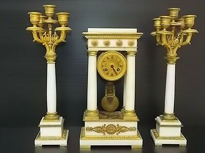 Rare Antique Victorian French Tiffany & Co Portico Clock W/ Candelabras