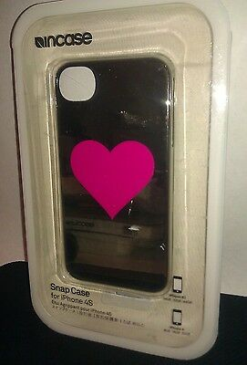 Incase - Snap Case for Apple iPhone 4 & 4S - (Silver Chrome/Single Pink Heart)