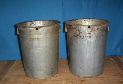 2 VINTAGE Sap Buckets Old TIN BUCKET Maple Syrup L@@K GREAT STYLE!