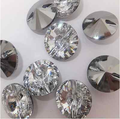 A Pair of Swarovski© Crystal Buttons for Upholstery & Soft Furnishings - 3 sizes