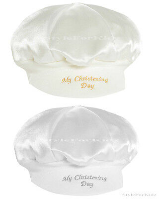 Baby Boys Christening Hat Ivory/cream,white My Christening Day Cap Baker Style