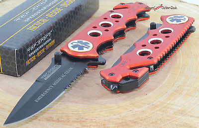 TAC-FORCE Orange EMS/EMT Spring Assisted Opening Survival Rescue Pocket Knife