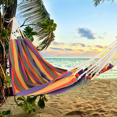 Huge Double Cotton Fabric Hammock Air Chair Hanging Swinging Camping Outdoor New