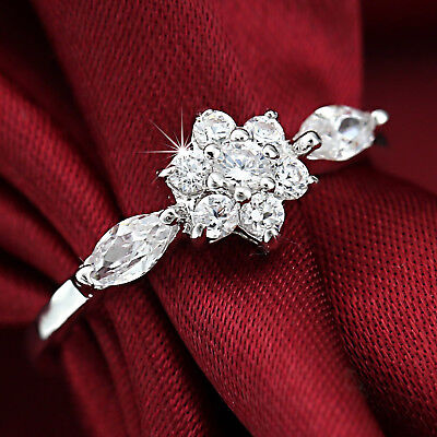 18K WHITE GOLD GF R71 Simulated Diamond CLUSTER SOLID LADIES DRESS WEDDING RING