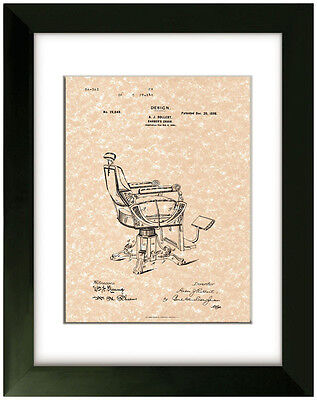 United States Patent Office Print Barber Chair Design 1898 A.J. Rollert Art