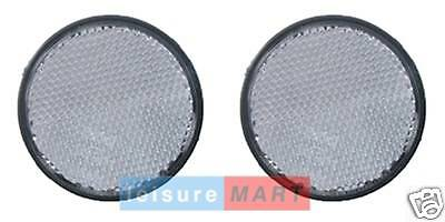 Pair of White / clear reflectors self adhesive round