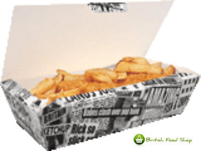 10 Large Newsprint Fish & Chip Shop Box Fast Food Cardboard Takeaway Packaging