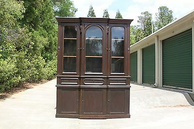 Fabulous Walnut Victorian Triple Door Breakfront Bookcase China Cabinet Ca.1870