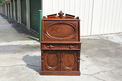 Gorgeous Fancy Burl Walnut Victorian Desk w Egg Carved Gallery by Paines Boston