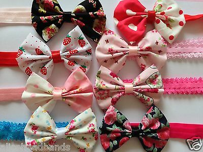 Floral Fabric Bow Headband Baby Girl Headbands Newborn Toddler Girls + Lot