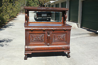 Fabulous Heavily Carved Victorian Tiger Oak Winged Griffin Sideboard Buffet