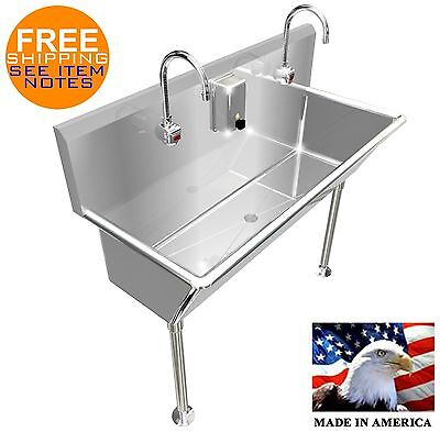 "2 Users Multi Station 48"" Wash Up Hand Sink Hands Free 12"" Bowl Deep Made In Usa"