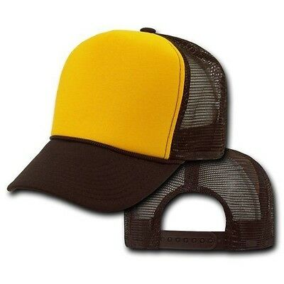 Two Tone Brown Gold  Mesh Trucker Hat Snap Back Hats adjustable NEW