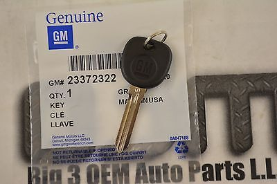 Chevrolet Door Lock & Ignition Lock Key Uncoded with GM Emblem new OEM 23372322
