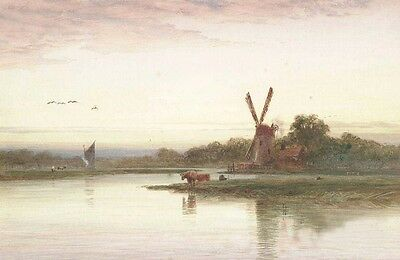 No framed Oil painting nice dusk landscape with cows Windmill by the river