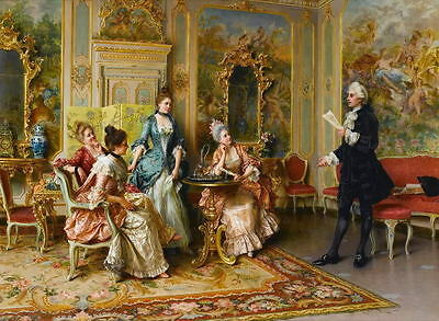 """Art Oil painting European court painting count with noblewomen canvas 48""""x36"""""""