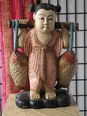 Antique Chinese Carved Wooden Figurine… beautifully hand painted...