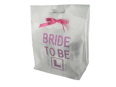 Hen Night Party White Gift Bag for the Bride to Be Goodies Hot Pink Diamante