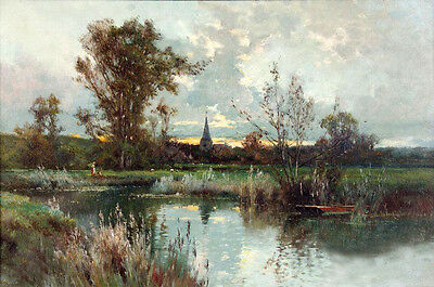 Oil painting autumn landscape with canoe by stream and Distant church canvas